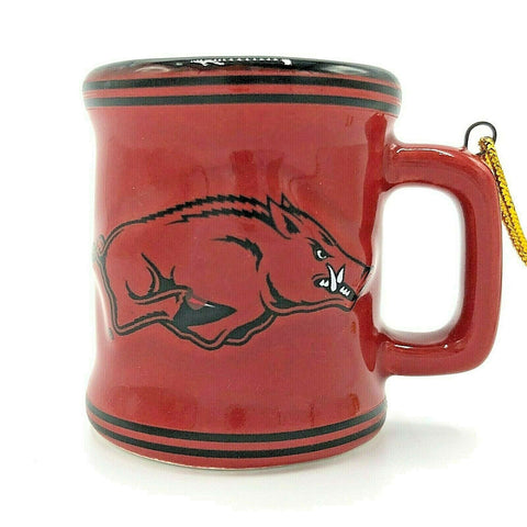 ARKANSAS RAZORBACKS NCAA Ceramic Mini Mug Christmas Ornament