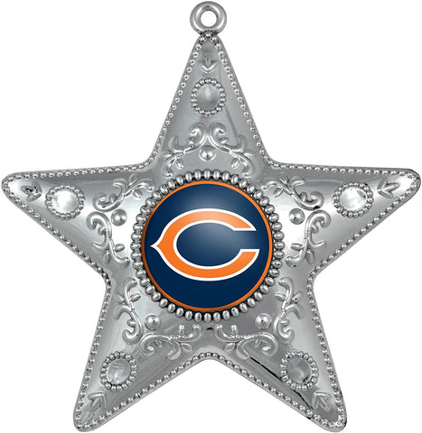 CHICAGO BEARS NFL Silver Star Christmas Ornament