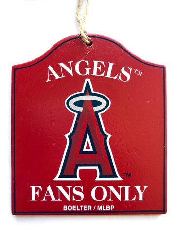 "LOS ANGELES ANGELS MLB Wooden ""Fans Only"" Sign Christmas Ornament"