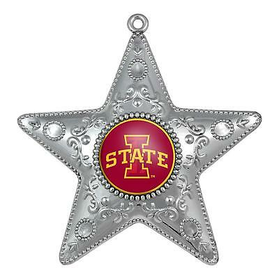 IOWA STATE CYCLONES NCAA Silver Star Christmas Ornament