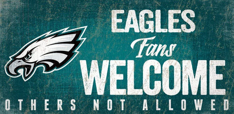 "PHILADELPHIA EAGLES NFL ""Fans Welcome"" Wood Sign with Rope, 12""x 6"""
