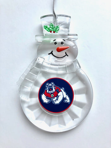 FRESNO STATE BULLDOGS NCAA Traditional Acrylic Snowman Ornament