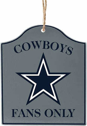 "DALLAS COWBOYS NFL Wooden ""Fans Only"" Sign Christmas Ornament"
