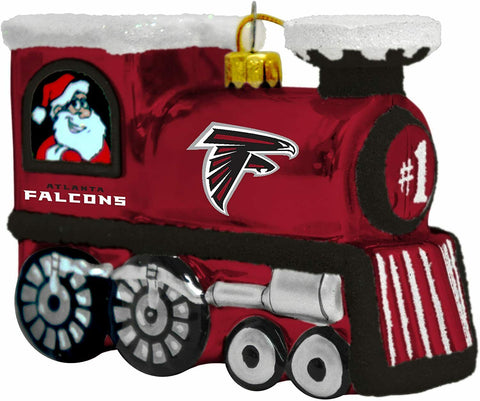 ATLANTA FALCONS NFL BLOWN Glass Train Christmas Tree Ornament