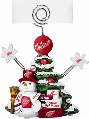 DETROIT RED WINGS NHL Christmas Tree Photo Holder with Snowman