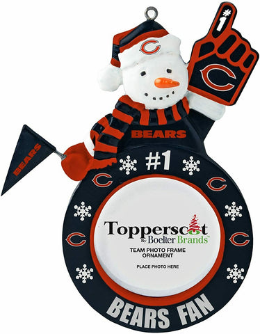 CHICAGO BEARS NFL Snowman Photo Frame Christmas Ornament