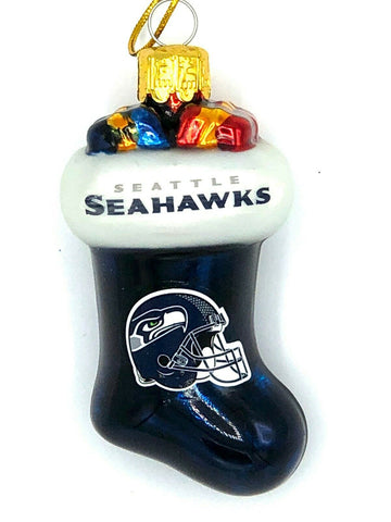 SEATTLE SEAHAWKS NFL Blown Glass Christmas Stocking Ornament