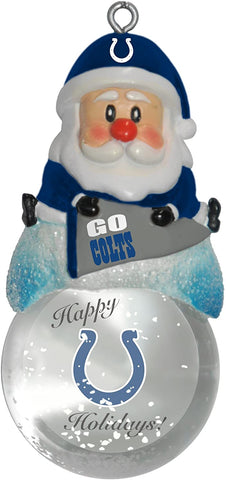 INDIANAPOLIS COLTS NFL Snow Globe Santa Ornament