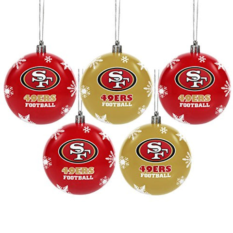 SAN FRANCISCO 49ERS NFL 5-Pack Shatterproof Ball Ornament Set