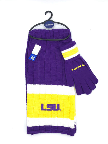 LSU TIGERS NCAA Knit Scarf & Gloves Set