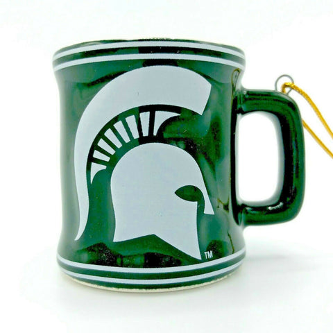 MICHIGAN STATE SPARTANS NCAA Ceramic Mini Mug Christmas Ornament