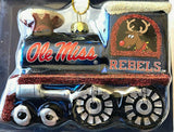 OLE MISS REBELS NCAA Blown Glass Train Christmas Tree Ornament
