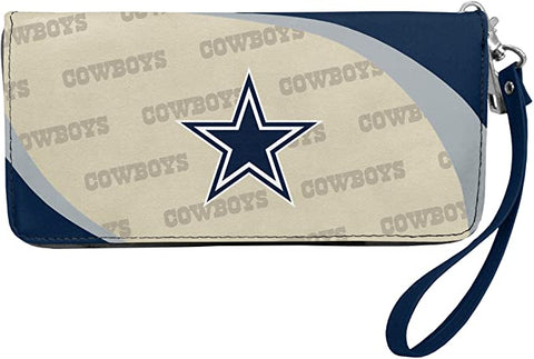 DALLAS COWBOYS NFL Women's Synthetic Leather Curve-Zip Organizer Wallet