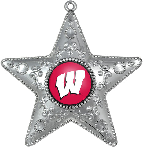 WISCONSIN BADGERS NCAA Silver Star Christmas Ornament