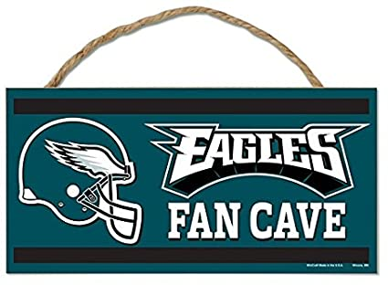 "PHILADELPHIA EAGLES NFL ""Fans Cave"" Wood Sign with Rope, 5""x10"""
