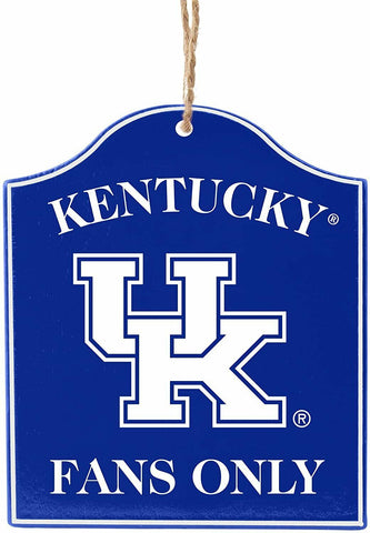 "KENTUCKY WILDCATS NCAA Wooden ""Fans Only"" Sign Christmas Ornament"
