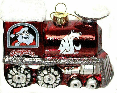 WASHINGTON STATE COUGARS NCAA Blown Glass Train Christmas Tree Ornament