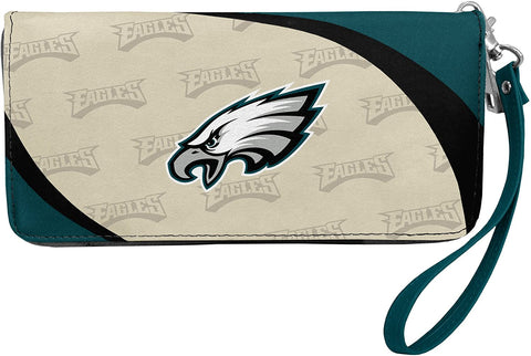 PHILADELPHIA EAGLES NFL Women's Synthetic Leather Curve-Zip Organizer Wallet