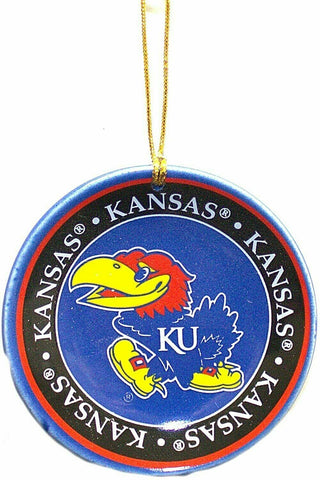 KANSAS JAYHAWKS NCAA Mini Ceramic Plate Christmas Ornament