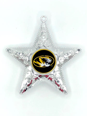 MISSOURI TIGERS NCAA Silver Star Christmas Ornament