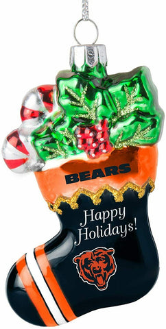 CHICAGO BEARS NFL Blown Glass Christmas Stocking Ornament