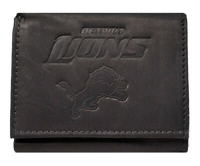 DETROIT LIONS NFL Embossed Black Leather Trifold Wallet