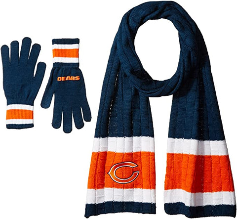 CHICAGO BEARS NFL Knit Scarf & Gloves Set