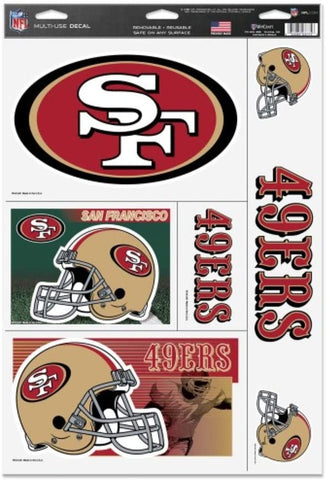 SAN FRANCISCO 49ERS Reusable Vinyl Decals Set of 5 for Car or Home Windows