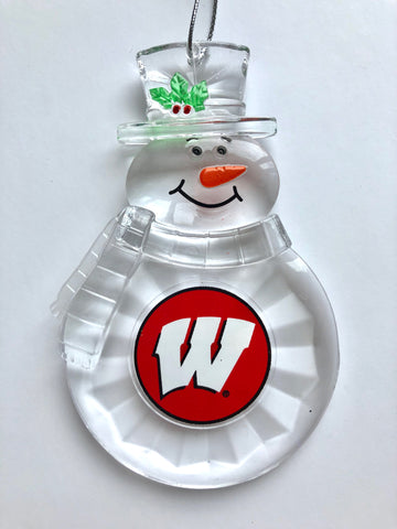 WISCONSIN BADGERS NCAA Traditional Acrylic Snowman Ornament