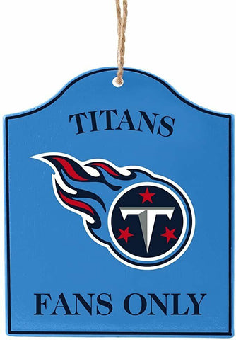 "TENNESSEE TITANS NFL Wooden ""Fans Only"" Sign Christmas Ornament"