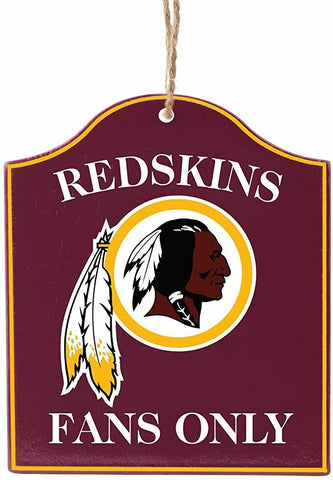"WASHINGTON REDSKINS NFL Wooden ""Fans Only"" Sign Christmas Ornament"