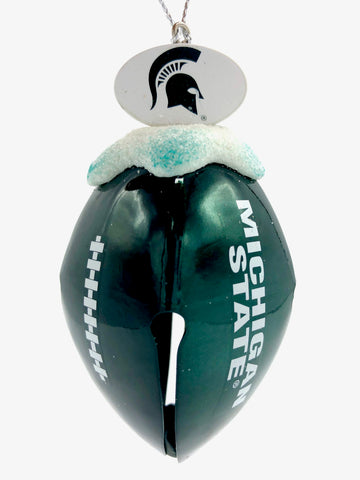 MICHIGAN STATE SPARTANS NCAA Metal Football Bell Christmas Ornament