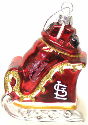 ST LOUIS CARDINALS MLB Blown Glass Glitter Sleigh Christmas Ornament