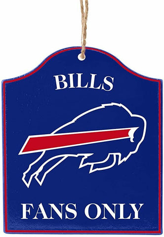 "BUFFALO BILLS NFL Wooden ""Fans Only"" Sign Christmas Ornament"