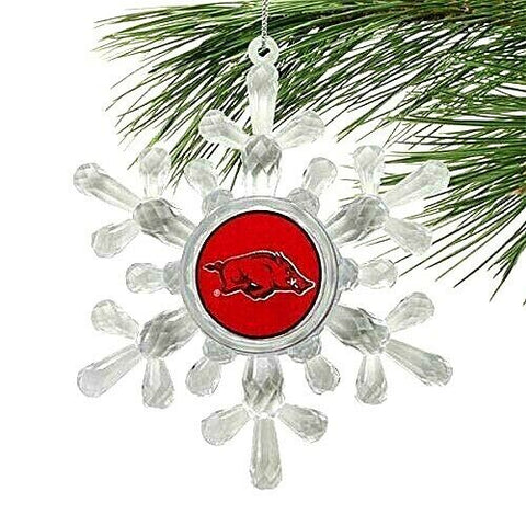 ARKANSAS RAZORBACKS NCAA Traditional Acrylic Snowflake Christmas Ornament