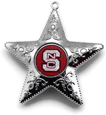 NC STATE WOLFPACK NCAA Silver Star Christmas Ornament