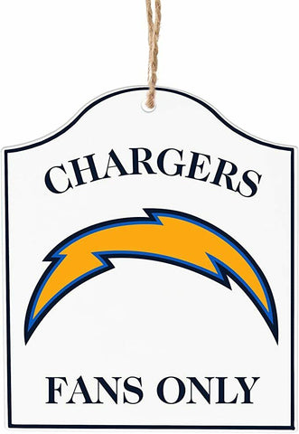 "LOS ANGELES (SAN DIEGO) CHARGERS NFL Wooden ""Fans Only"" Sign Christmas Ornament"