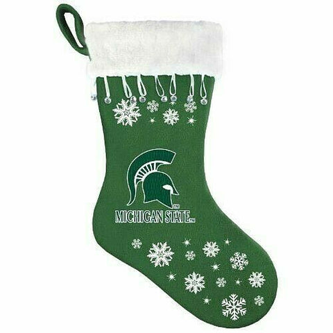 MICHIGAN STATE SPARTANS NCAA Snowflake Christmas Santa Stocking