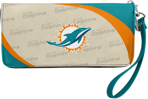 MIAMI DOLPHINS NFL Women's Synthetic Leather Curve-Zip Organizer Wallet