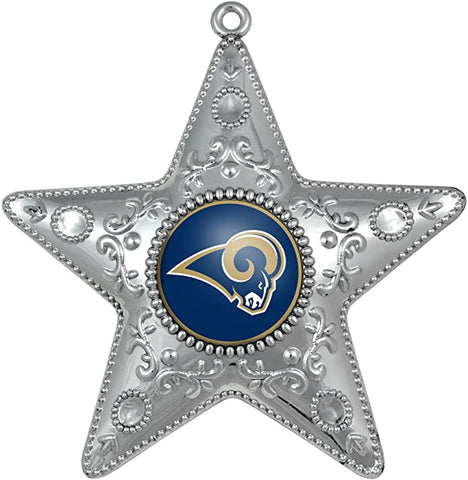 LOS ANGELES RAMS NFL Silver Star Christmas Ornament