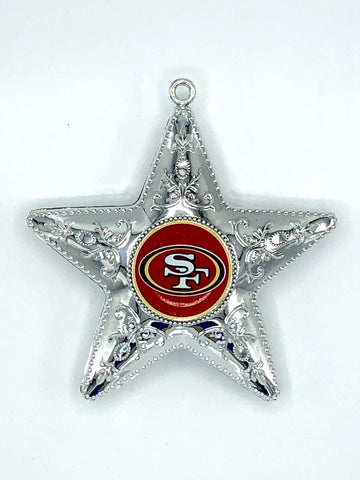 SAN FRANCISCO 49ERS NFL Silver Star Christmas Ornament