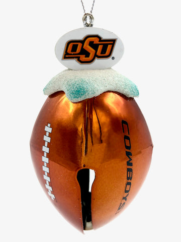 OKLAHOMA STATE COWBOYS NCAA Metal Football Bell Christmas Ornament