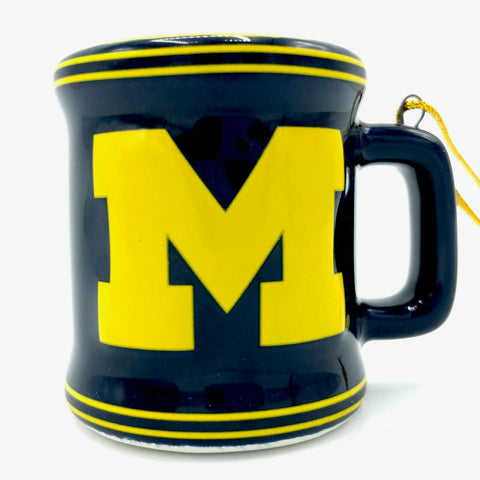 MICHIGAN WOLVERINES NCAA Ceramic Mini Mug Christmas Ornament