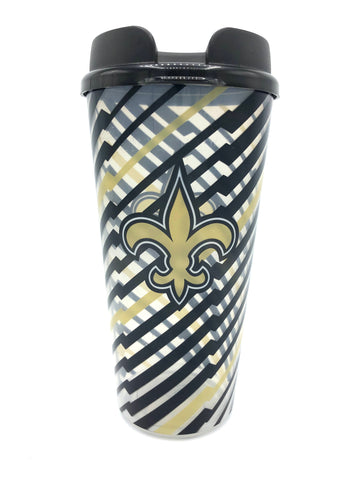 NEW ORLEANS SAINTS NFL Single Wall Striped Plastic Travel Tumbler, 32oz