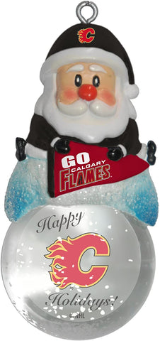 CALGARY FLAMES NHL Snow Globe Santa Ornament