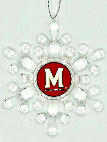 MARYLAND TERRAPINS NCAA Traditional Acrylic Snowflake Christmas Ornament