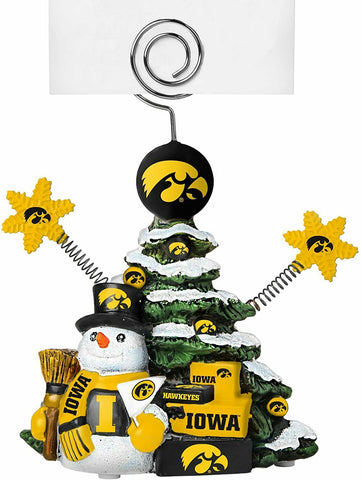 IOWA HAWKEYES NCAA Christmas Tree Photo Holder with Snowman NEW!!!