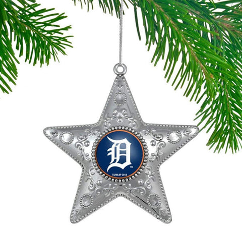 DETROIT TIGERS MLB Silver Star Christmas Ornament