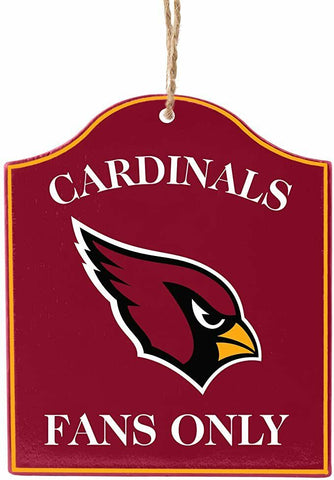"ARIZONA CARDINALS NFL Wooden ""Fans Only"" Sign Christmas Ornament"