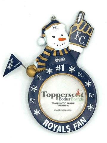 KANSAS CITY ROYALS MLB Snowman Photo Frame Christmas Ornament